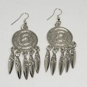 E2380 Silver Swirl Dangle Drop Earrings